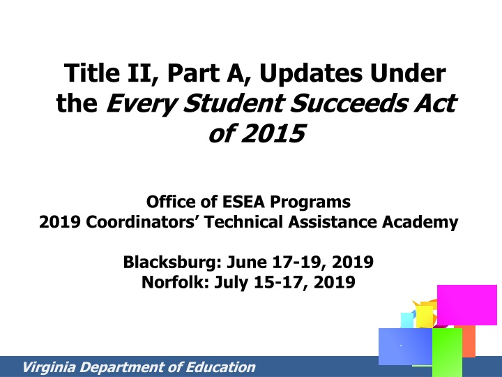 title ii part a updates under the every student succeeds act of 2015 n.