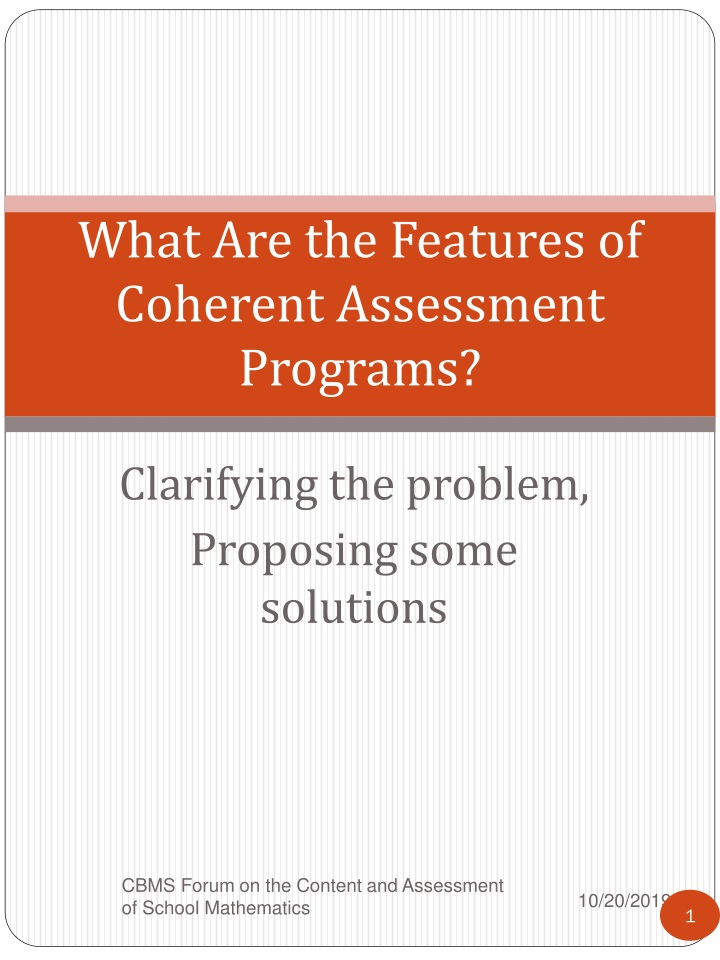 what are the features of coherent assessment programs n.