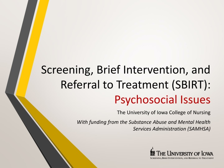 screening brief intervention and referral to treatment sbirt psychosocial issues n.