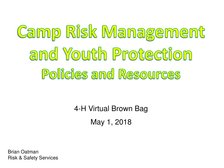 camp risk management and youth protection policies and resources n.