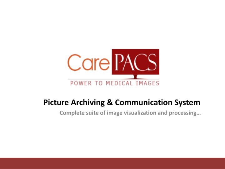 picture archiving communication system complete suite of image visualization and processing n.