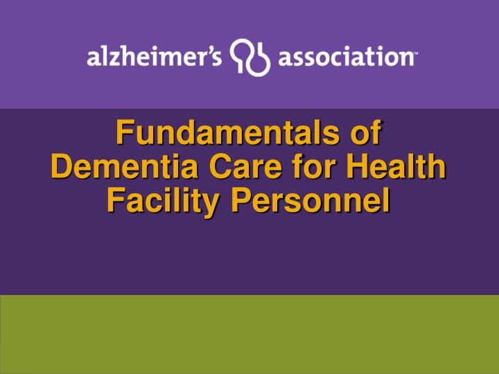 fundamentals of dementia care for health facility personnel n.