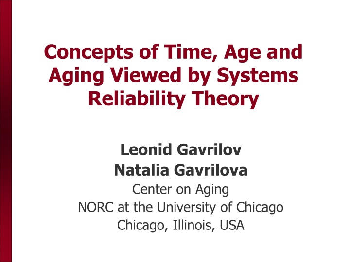 concepts of time age and aging viewed by systems reliability theory n.