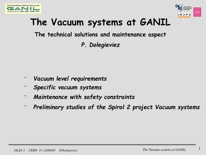 the vacuum systems at ganil the technical n.