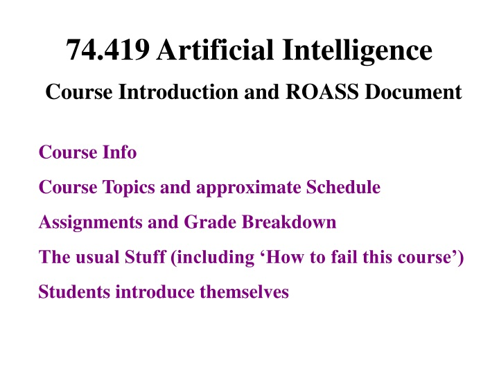 74 419 artificial intelligence course introduction and roass document n.