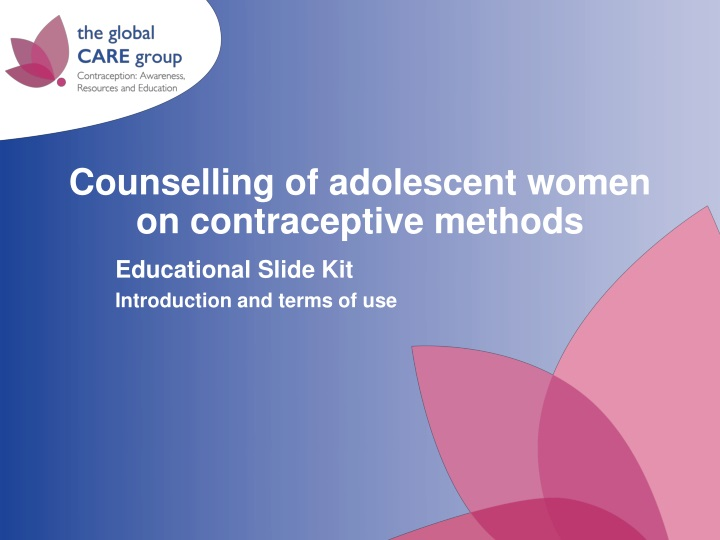 counselling of adolescent women on contraceptive methods n.
