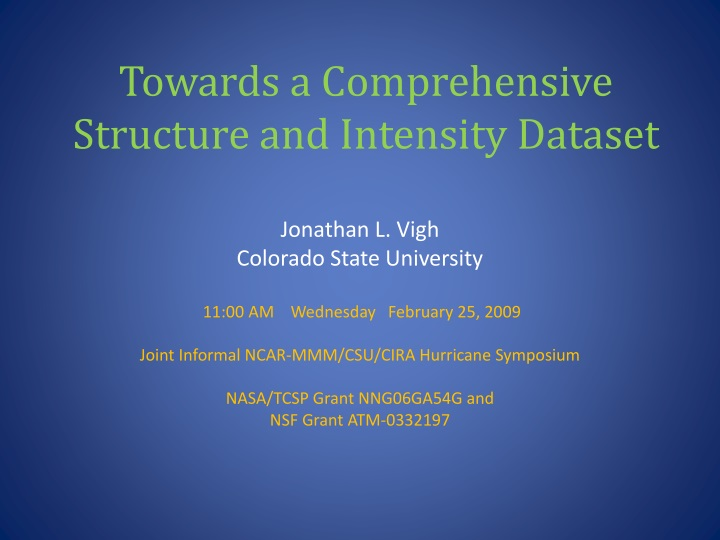 towards a comprehensive structure and intensity dataset n.