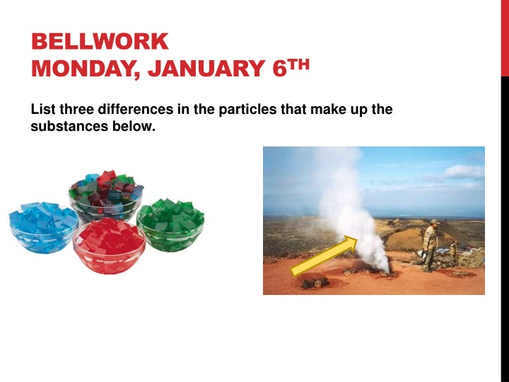 bellwork monday january 6 th n.