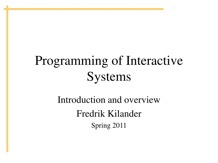 programming of interactive systems n.