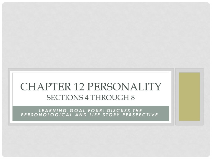 chapter 12 personality sections 4 through 8 n.