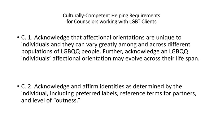 culturally competent helping requirements for counselors working with lgbt clients n.