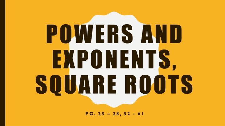 powers and exponents square roots n.