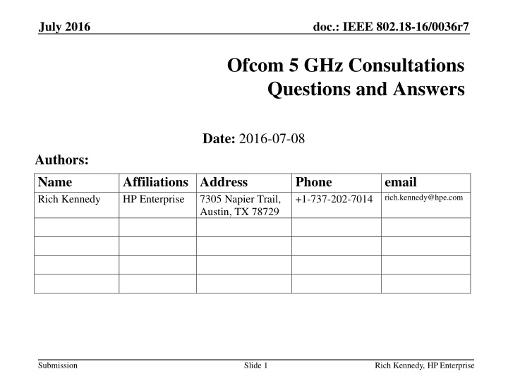 ofcom 5 ghz consultations questions and answers n.