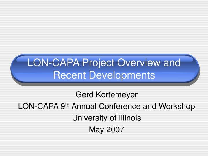 lon capa project overview and recent developments n.