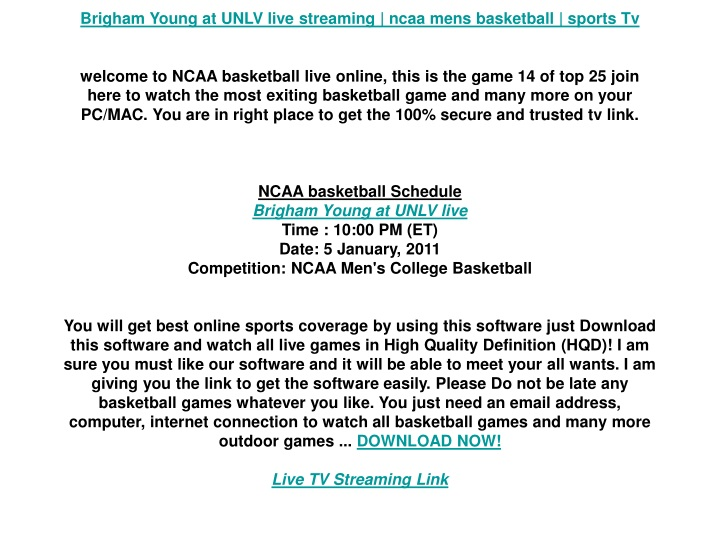 brigham young at unlv live streaming ncaa mens n.