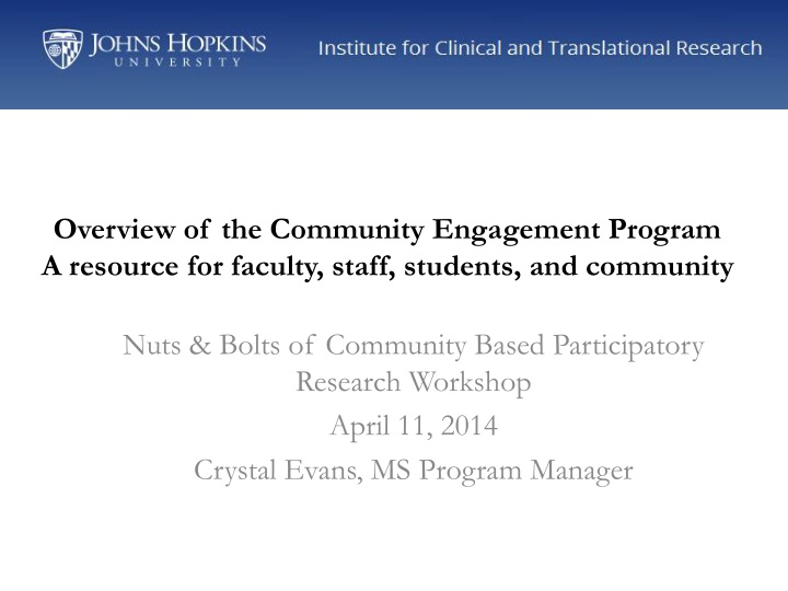 overview of the community engagement program a resource for faculty staff students and community n.
