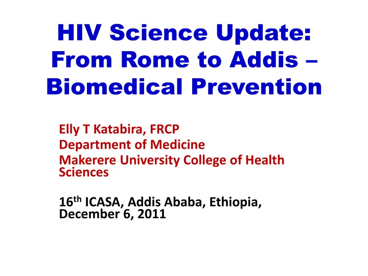 hiv science update from rome to addis biomedical prevention n.