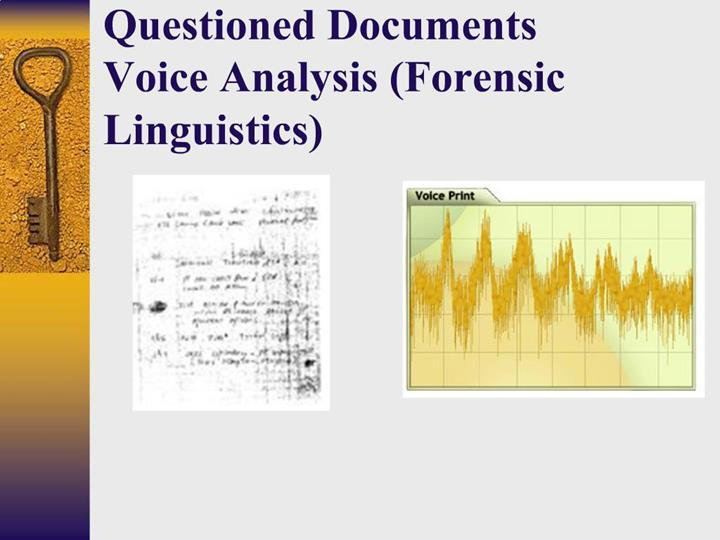 Ppt Questioned Documents Voice Analysis Forensic Linguistics Powerpoint Presentation Id 689075
