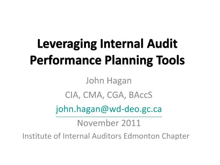 Ppt Leveraging Internal Audit Performance Planning Tools Powerpoint Presentation Id 710963