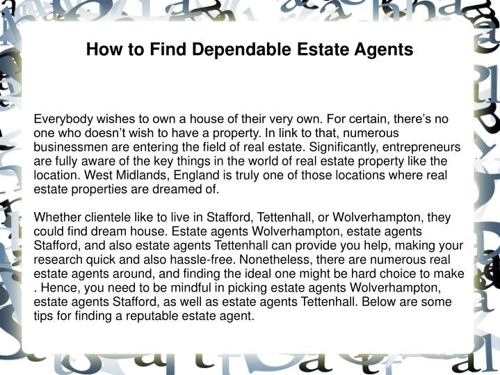 how to find dependable estate agents n.