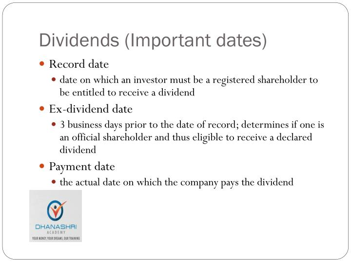 Dividends (Important dates)