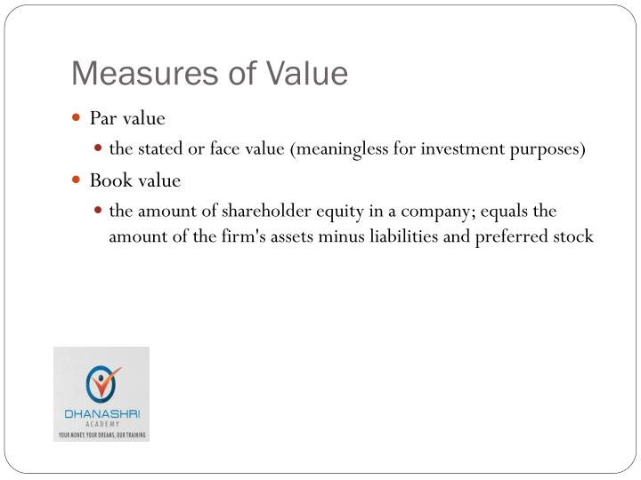 Measures of Value