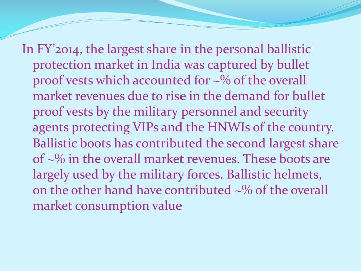 In FY'2014, the largest share in the personal ballistic protection market in India was captured by bullet proof vests which accounted for ~% of the overall market revenues due to rise in the demand for bullet proof vests by the military personnel and security agents protecting VIPs and the HNWIs of the country. Ballistic boots has contributed the second largest share of ~% in the overall market revenues. These boots are largely used by the military forces. Ballistic helmets, on the other hand have contributed ~% of the overall market consumption value