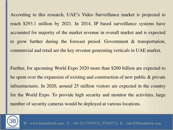 According to this research, UAE's Video Surveillance market is projected to reach $293.1 million b...