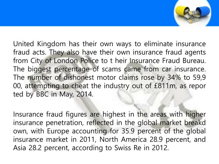 United Kingdom has their own ways to eliminate insurance fraud acts. They also have their own insurance fraud agents from City of London Police to t heir Insurance Fraud Bureau. The biggest percentage of scams came from car insurance. The number of dishonest motor claims rose by 34% to 59,900, attempting to cheat the industry out of £811m, as reported by BBC in May, 2014.