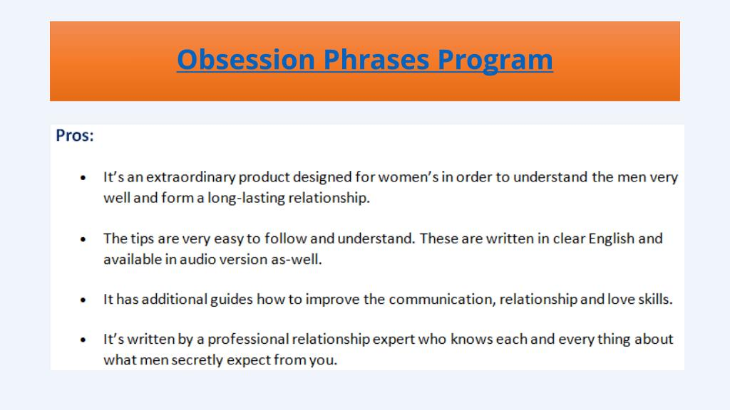 PPT - Obsession Phrases - Does It Work? PowerPoint