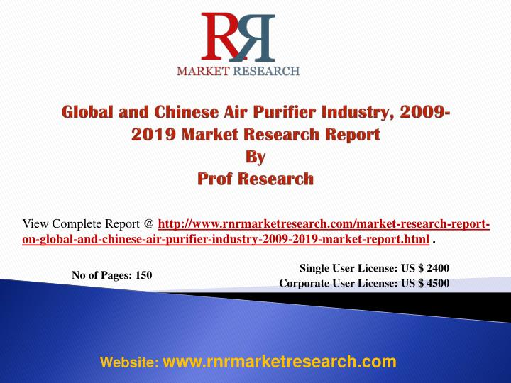 global and chinese air purifier industry 2009 2019 market research report by prof research n.