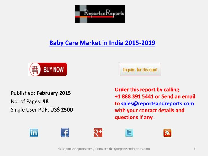 baby care market in india 2015 2019 n.