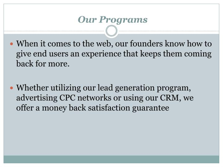 Our programs