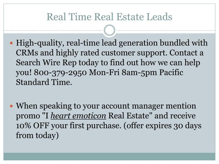 Real Time Real Estate Leads