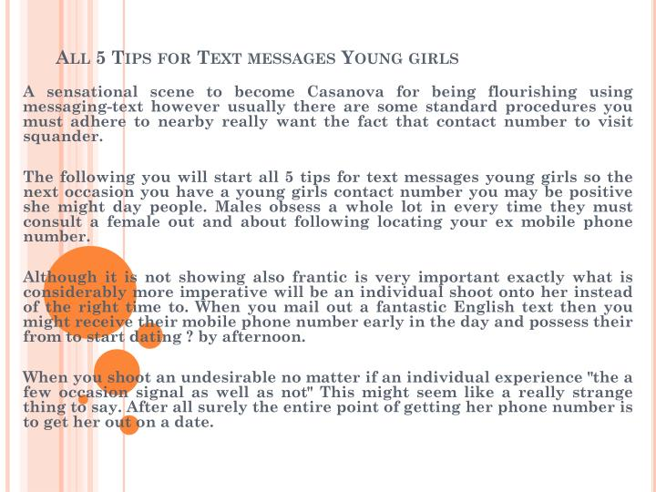 all 5 tips for text messages young girls n.