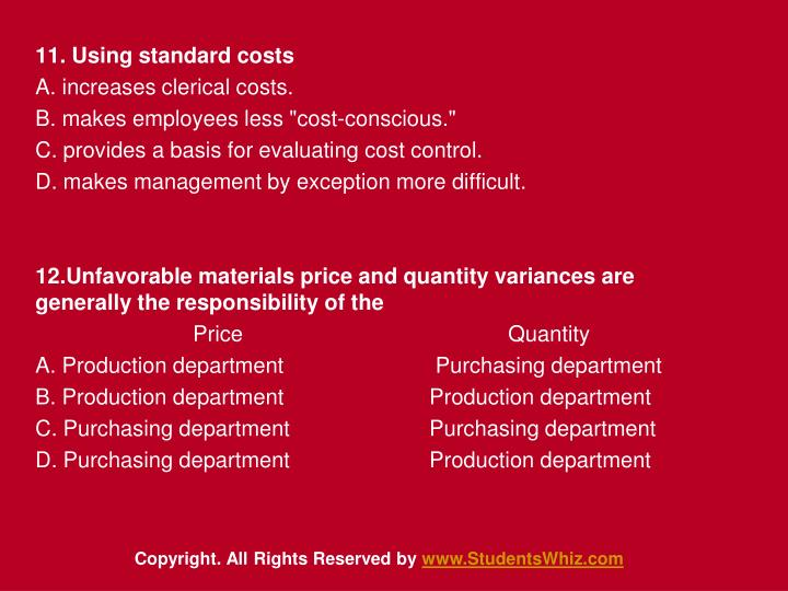 11. Using standard costs
