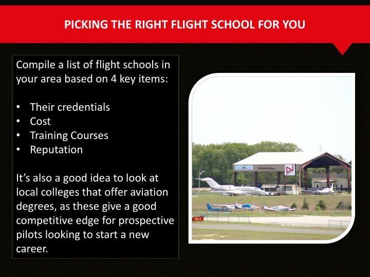 PICKING THE RIGHT FLIGHT SCHOOL FOR YOU