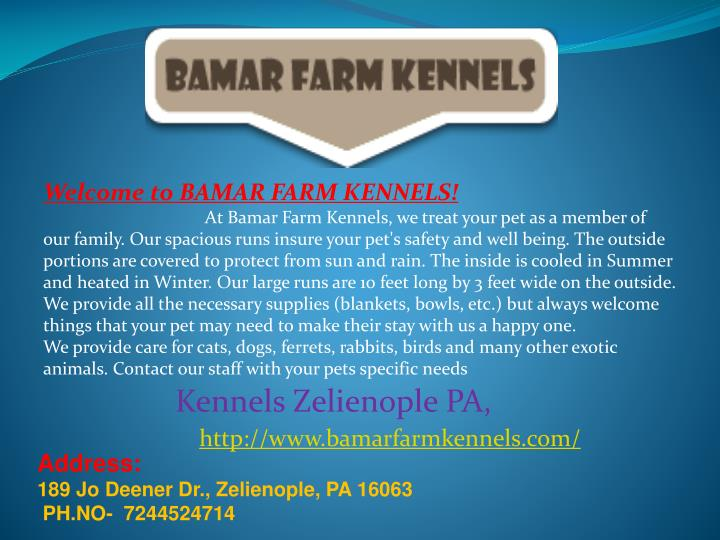 Welcome to BAMAR FARM KENNELS!