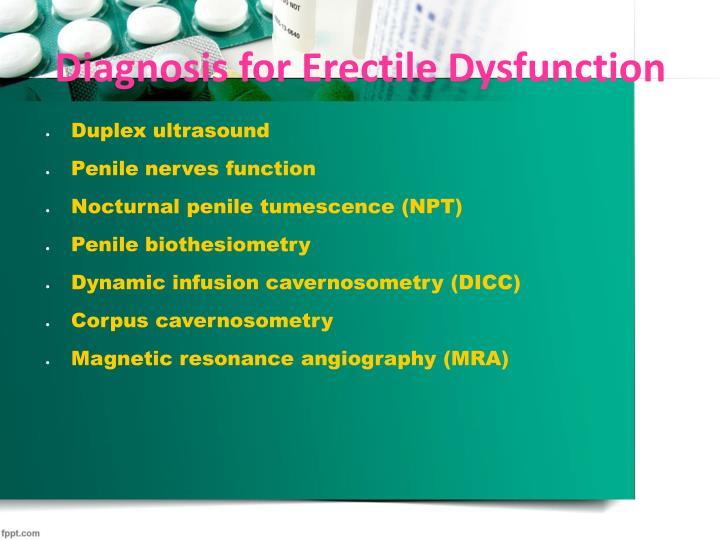 Diagnosis for Erectile Dysfunction