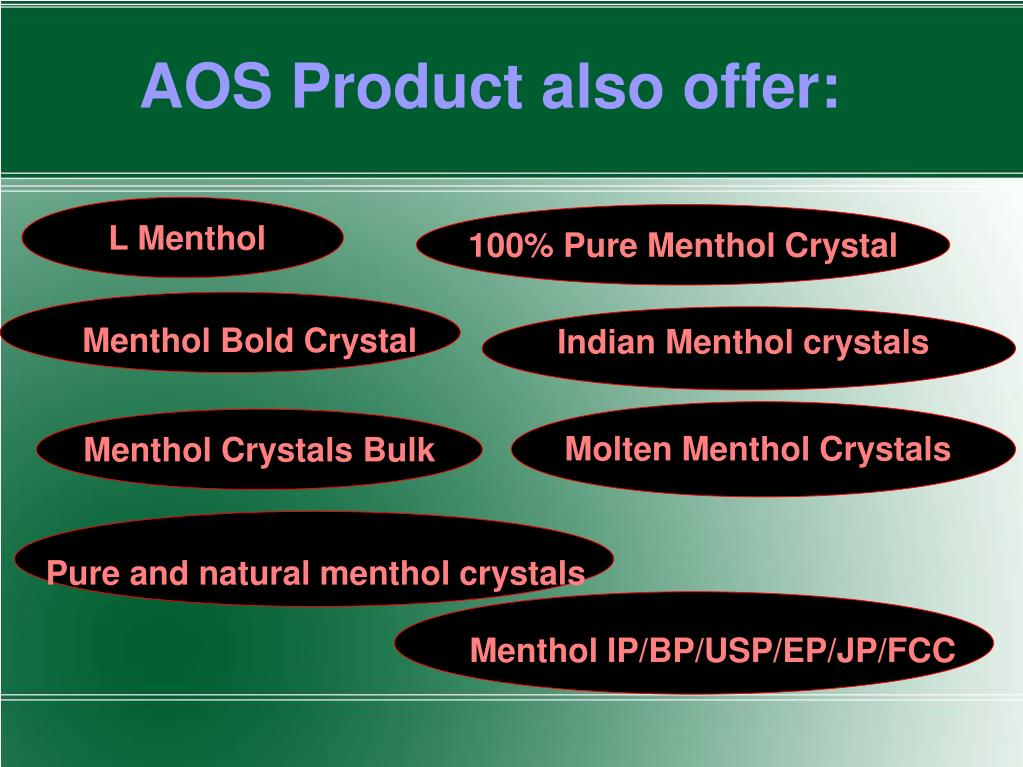PPT - Pure Natural Menthol Crystals, Menthol Crystal USP/BP
