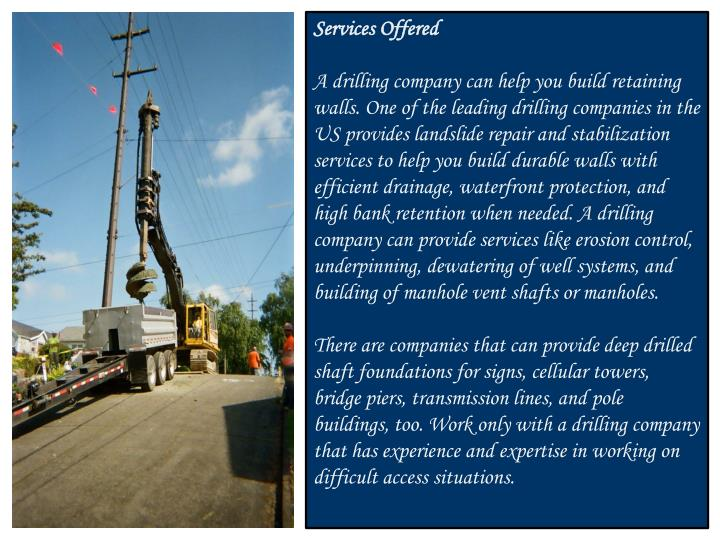 Ppt Services Offered By Drilling Companies In The Usa