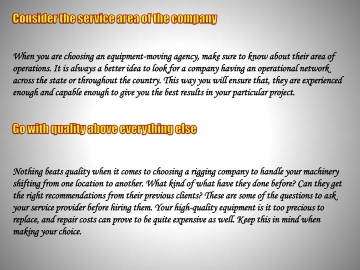 Consider the service area of the company
