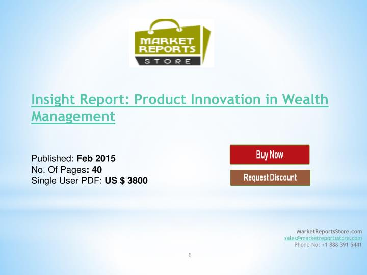 Insight Report: Product Innovation in Wealth Management