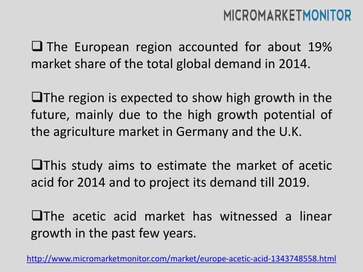 The European region accounted for about 19% market share of the total global demand in 2014