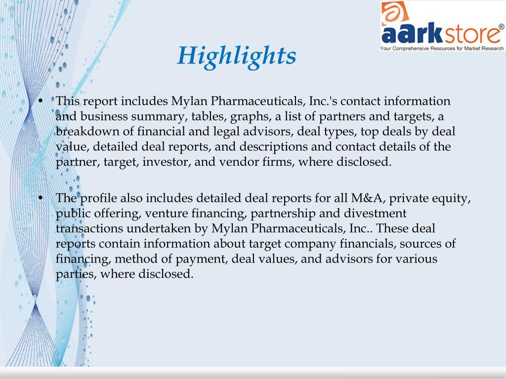 PPT - Aarkstore - Mylan Pharmaceuticals, Inc  PowerPoint