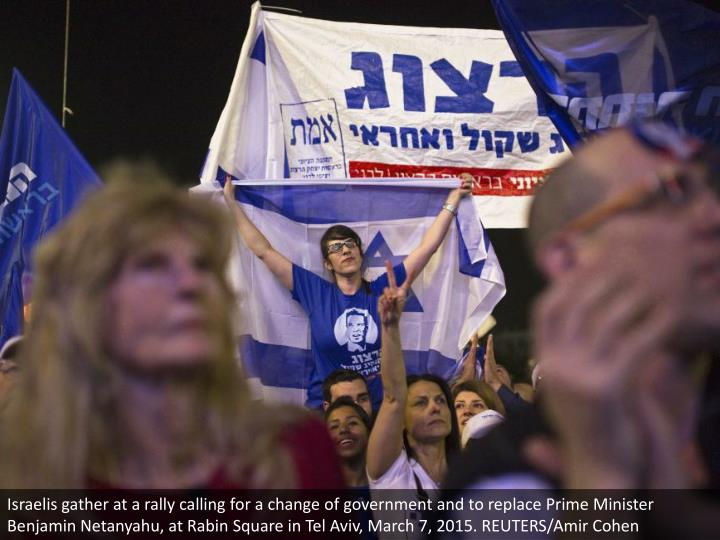 Israelis gather at a rally calling for a change of government and to replace Prime Minister Benjamin Netanyahu, at Rabin Square in Tel Aviv, March 7, 2015. REUTERS/Amir Cohen