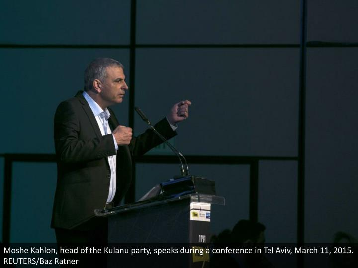 Moshe Kahlon, head of the Kulanu party, speaks during a conference in Tel Aviv, March 11, 2015. REUTERS/Baz Ratner