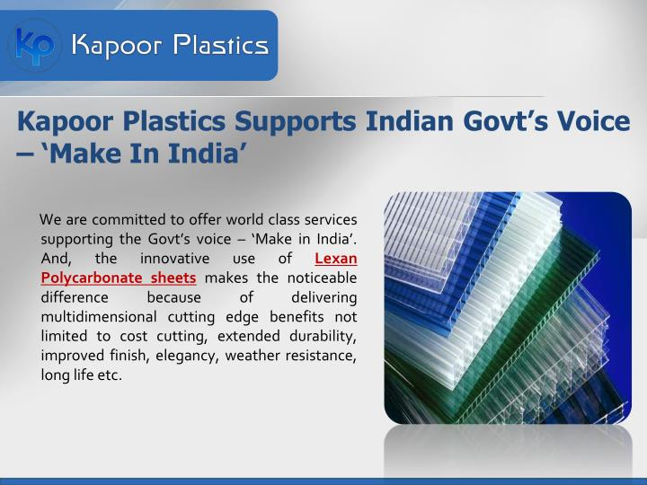 Kapoor plastics supports indian govt s voice make in india
