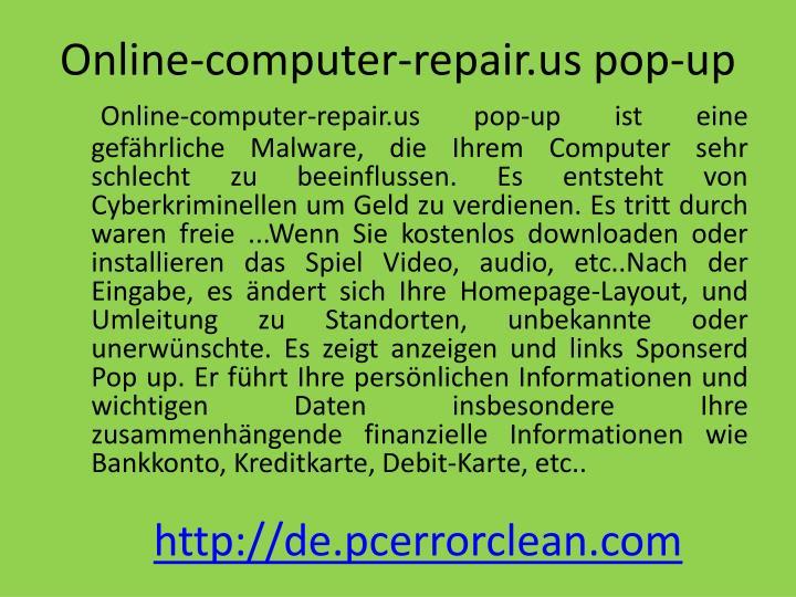 Online computer repair us pop up