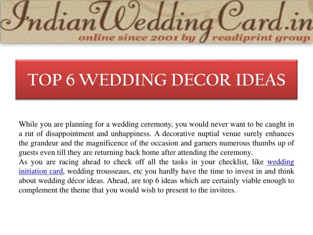 PPT - Top 6 Wedding Decor Ideas PowerPoint Presentation - ID:7133175